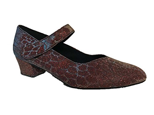 Strap Salsa 8 68260BC for with Jive Ceroc Velcro Toe Ballroom Sole Sparkle with Tango Shoes Dance Red Line Suede amp; Shoe Latin 3 Closed UK wzxFU4