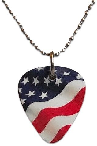 "Unique and Custom (.76 MM Thick) Medium Gauge Aluminum, Traditional Style ""Round Tip"" Guitar Pick Pendent w/ American Flag {Red, White, & Blue - One Pick} w/ Hole for Necklace & 24"