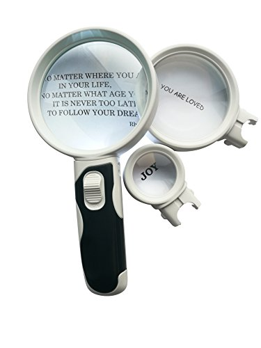 Magnifying Glass Set Of 3 - Illuminated Lens 2.5X, 5X and 16X High Magnification Power. Handheld Magnifier For Seniors Reading, Maps, Jewelry, Watches, Hobbies. TO FIND TICKS. Perfect as a Gift