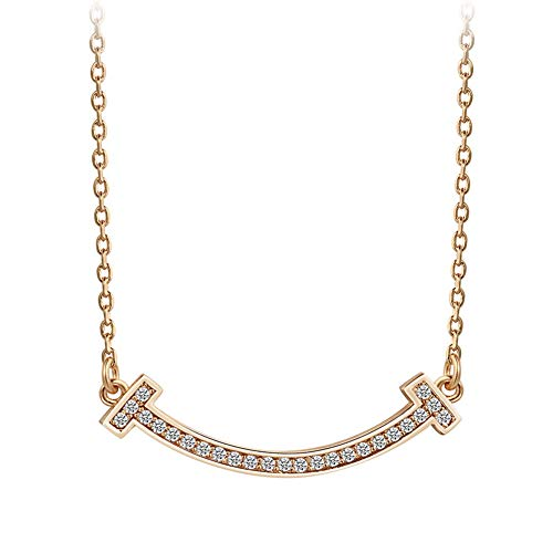 LUREME 925 Sterling Silver 18K Gold AAA Cubic Zironia Classic Smile Pendant Necklace (nl006145)