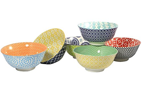 Large Cereal, Soup, or Pasta Bowls, 6.1 Inch, Set of 6 Assorted Designs