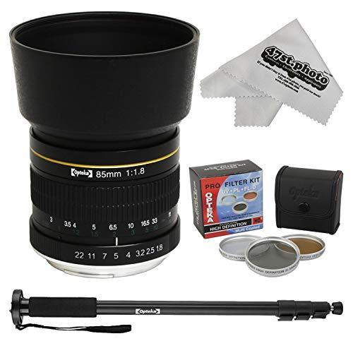 """Opteka 85mm f/1.8 Aspherical Telephoto Portrait Lens for Nikon D5, D4, D810, D600, D7200, D7000, D5300, D5100, D3100 DSLR Cameras Includes 72"""" Monopod, 55mm HD Filter Kit and Microfiber Cloth"""