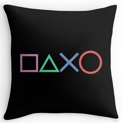 inches Cotton linen square decorative throw pillowcase Playstation Buttons 18x18 Mary R.Store Set of 1