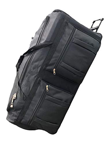 Gothamite 36-inch Rolling Duffle Bag with Wheels | Luggage Bag | Hockey Bag | XL Duffle Bag With Rollers | Heavy Duty 1200D Polyester (Black) ()