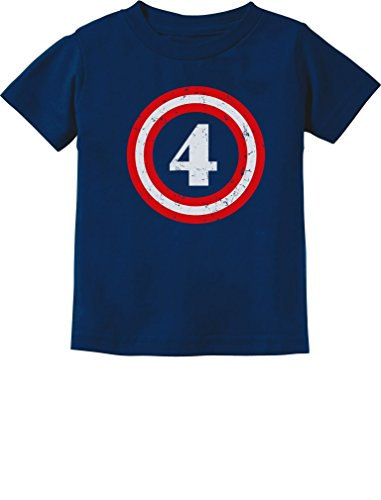 4th Birthday Kids T-shirt - Captain 4th Birthday - Gift for Four Years Old Toddler/Infant Kids T-Shirt 5/6 Navy