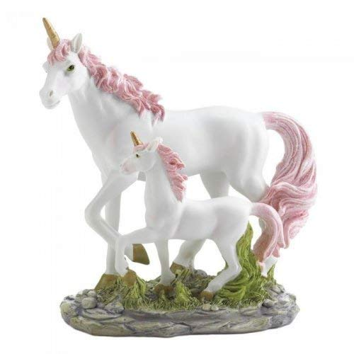 Dragon Crest 10018599 MOM and Baby Unicorn Figurine, Multicolor