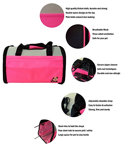 Reelok Portable Soft Sided Airline Approved Dog Carrier Pet Travel Bag Pet Home Comfortable Pink Carrier for Cats, Puppies and Small Animals by Reelok (Image #1)