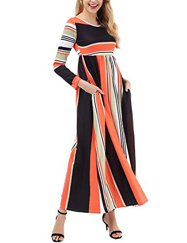 Empire Sleeve Long (Uniboutique Women's Casual Long Sleeve Elastic Empire Waist Striped Long Maxi Dress with Pockets)