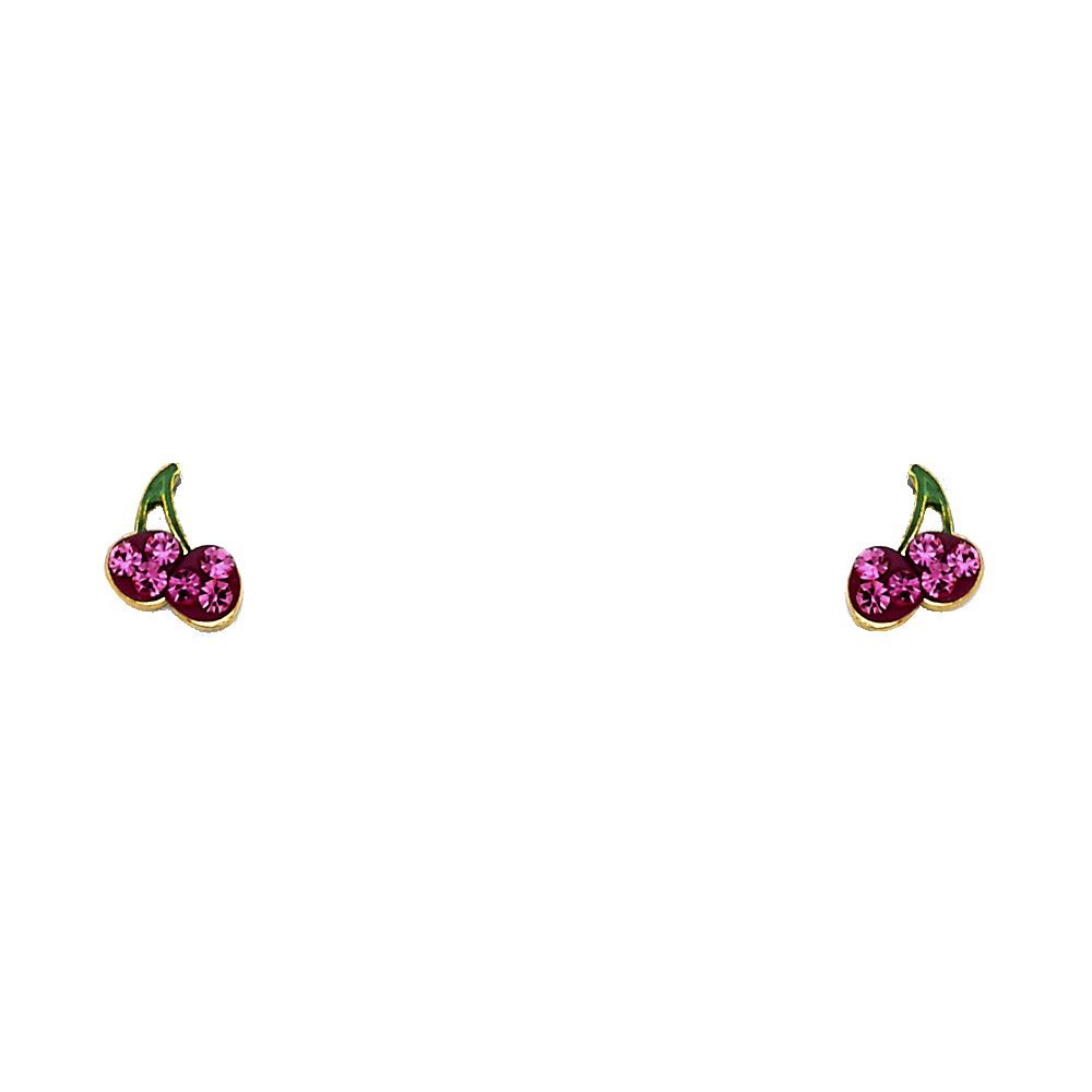 14K Yellow Gold Crystal Cherry Fruit Screw Back Stud Earrings Ioka