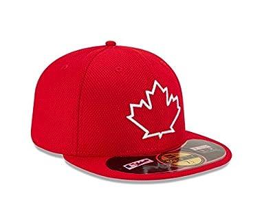 New Era Men's 59Fifty MLB Hat Toronto Blue Jays Diamond Era Red Fitted Cap