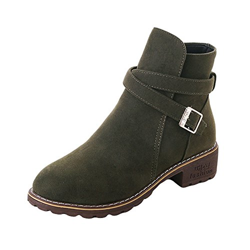 Work Boots,Women Buckle Ladies Faux Warm Autumn Boots Ankle Boots Middle Heels Martin Shoes Mid Heel Shoes Army Green