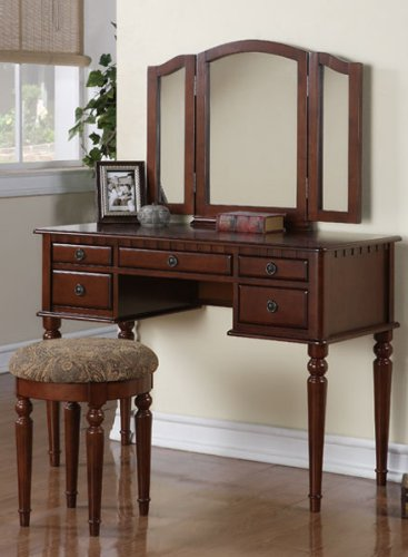 Elegant 3pcs Cherry Finish Wood Vanity Set #Pd41071 by HP