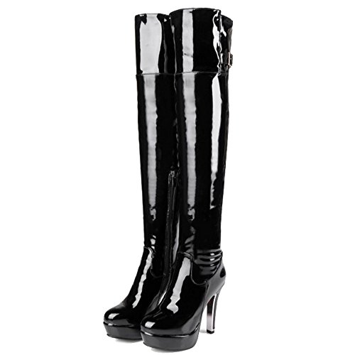 Smilice Heel With The Over Fashion High Black Women Size Large Size High amp; Zip Boots Knee Small Wq8wx6qprA