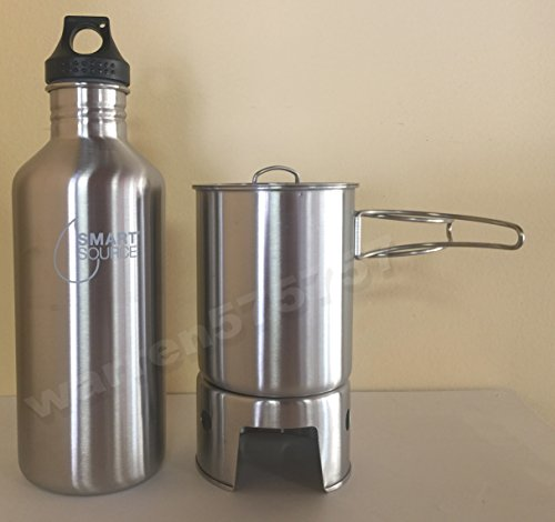NEW STAINLESS STEEL CANTEEN CUP AND VENTED LID WITH NEW STAINLESS STEEL BOTTLE BACKPACKING STOVE AND NEW SMART SOURCE WATER BOTTLE 40oz. by G.A.K