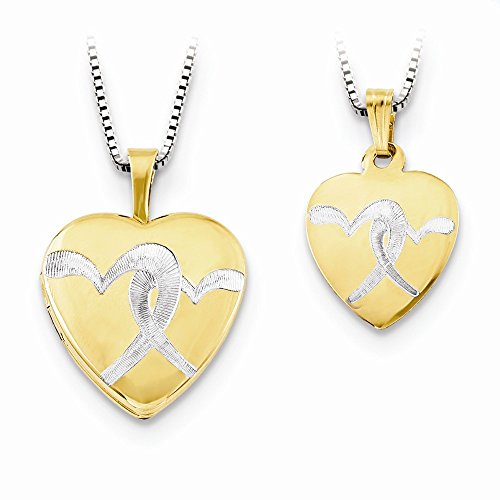 (Mia Diamonds 925 Sterling Silver Gp 16mm Etched Double Heart Locket/12mm Pendant)
