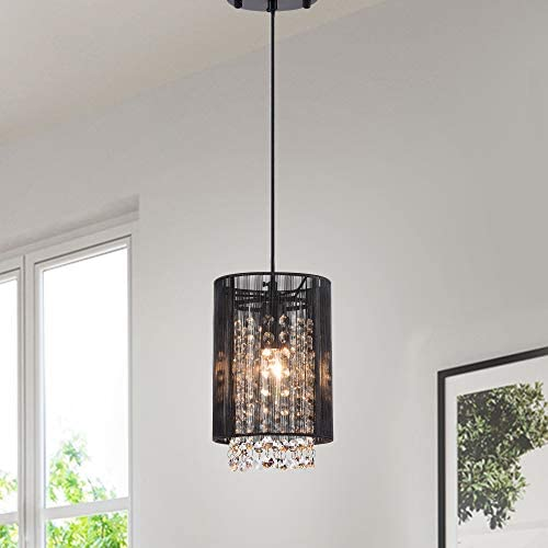 Crystal Pendant Lights Black Pendant Light Mini Chandelier Crystals 1 Light Pendant Lighting
