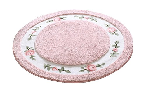 JSJ_CHENG Round Soft Cute Rose Floral Microfiber Area Rugs for Bedroom, Bathroom, Dining Room, Living Room, Kids Room, Teens Girls Room, Boys Room, Dorm Room (27.5-inch Diameter, Pink)