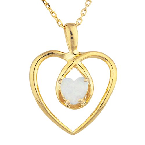 (Genuine Opal Heart Pendant Necklace 14Kt Yellow Gold Rose Gold Silver)