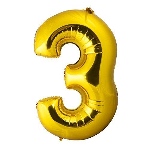 "Gold ""3"" Mirror Mylar balloons for birthday party,anniversary,engagement decorations (Balloon Mylar Sealer)"