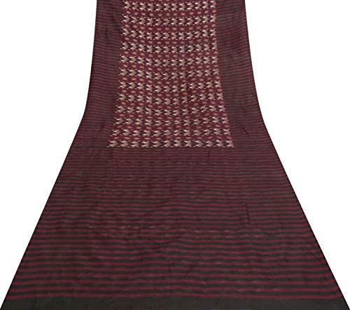Fabric Yds Stripe (Vintage Stripe Printed Pure Silk Saree Maroon Dress Making Used Craft Sari 5 Yds)