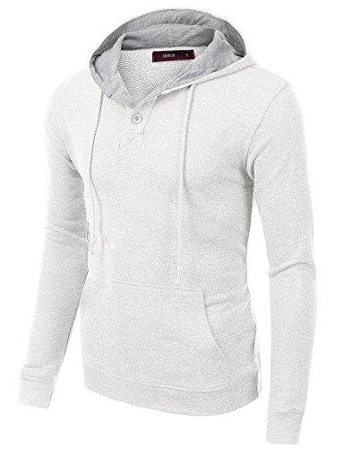 1/4 Zip Thermal Hooded Pullover - Doublju Mens Trendy Comfortable Long Sleeve Pullover Hoodie White,M