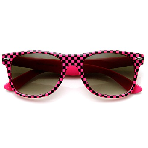 zeroUV - New Retro 80s Color Checkered Print Party Color Horn Rimmed Sunglasses - Sunglasses 80s Pink Style