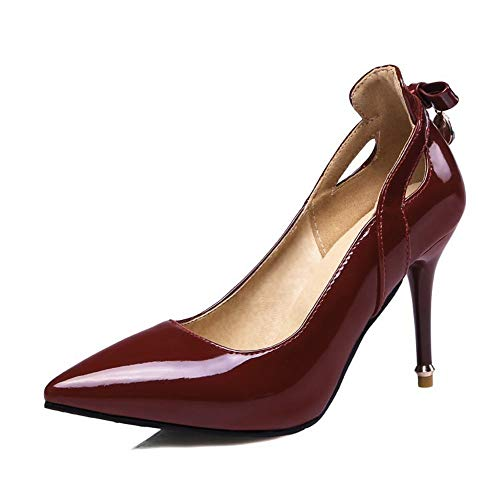 Top Shishang Womens Ankle Strap Pump Party Dress High Heel Roman Court Shoes Sexy Club bar Wedding,Wine red,38