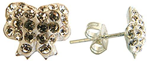 Clous d'oreilles noeuds papillon - cristaux transparents - Femme
