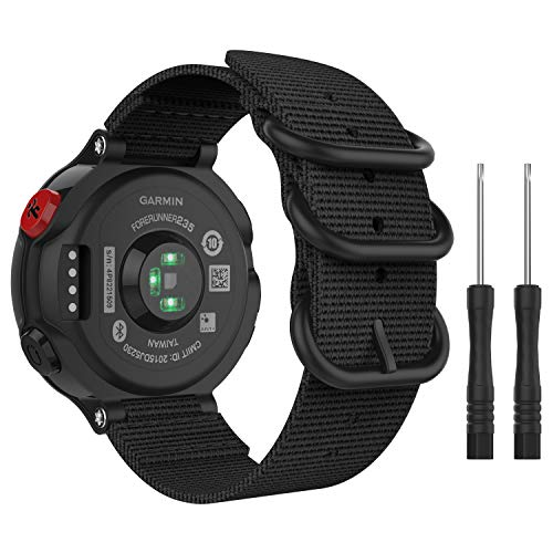 MoKo Watch Band Compatible with Garmin Forerunner 235/235 Lite/220/230/620/630/735XT, Premium Woven Nylon Adjustable Replacement Strap with Double Ring - Black