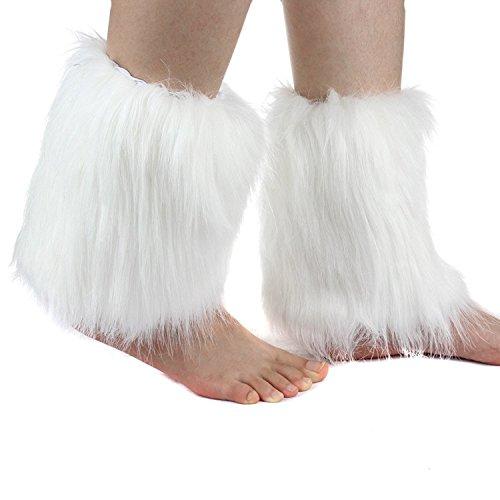 SWISH 20cm Women's Furry Leg Warmers Fluffies Boot Covers (White) (White Fluffy Leg Warmers)