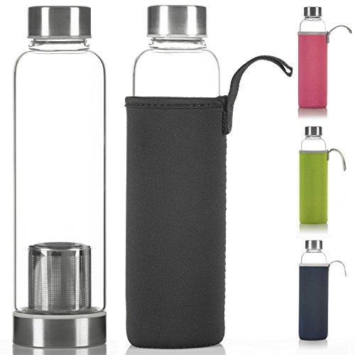 DIMONO Deluxe Trinkflasche aus Glas 600ml - Sport Glasflasche Wasser-Flasche; bruchsicher mit Edelstahl Filter-Einsatz & Nylon Thermo-Hülle - Schwarz