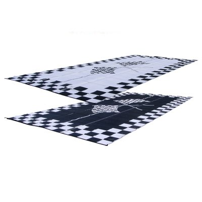RV Patio Mat: 9x18 Extra-Wide Finish Line Checkered Flags