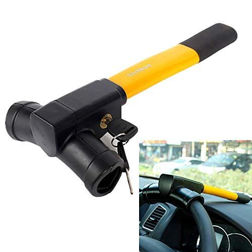 Vechkom Retractable Car Steering Wheel Lock with Keys Universal Vehicle Security Tool