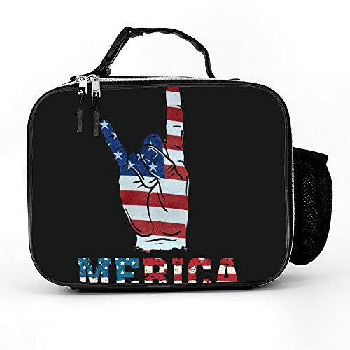 Welkoom Lunch Bag With Merica Rock Sign 4Th Of July Vintage American Flag Retro Usa Classic Lunch Bag Durable Thermal Lunch Cooler Pack With Strap For Boys Men Women Girls