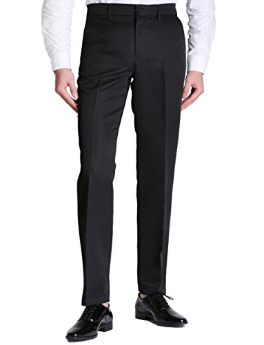Straight Leg Wool Trousers - VERO VIVA Men's Straight Leg Fit Flat Front Dress Pants Business Casual Trousers(33W32L,Black)