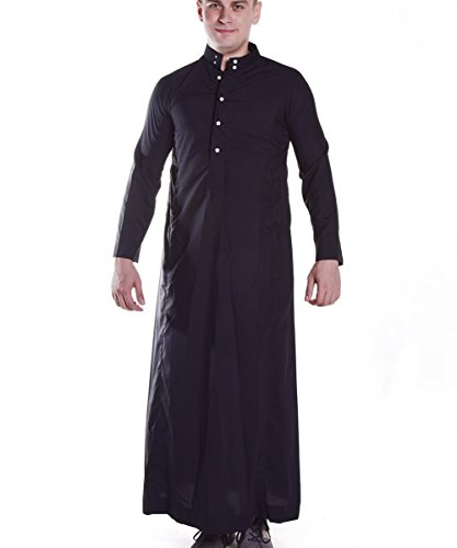 Men's Muslim Solid Black Business Saudi Arabic Thobe size XXXL by H Hrokk