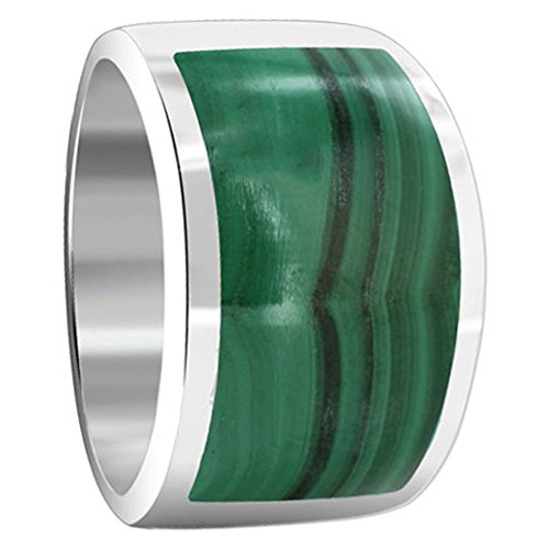 Gem Avenue 925 Sterling Silver Green Malachite Gemstone Inlay Ring Size 4.5