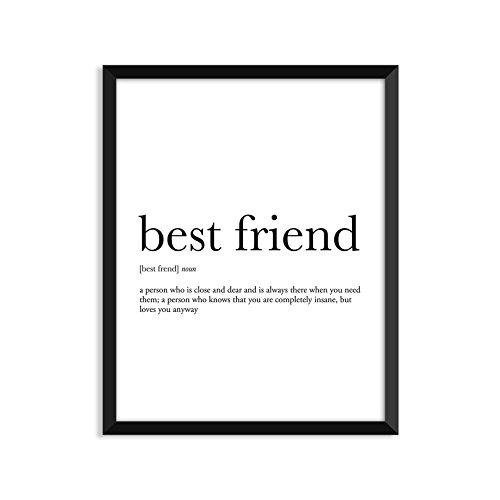 Best Friend definition - Unframed art print poster or greeting card (Poster Best Friend Print)