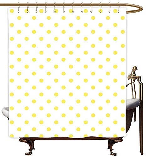 SKDSArts Shower Curtains with Valance Polka Dots,Retro Small Yellow Polka Dots on Plain Background Equally Sized Circle Pattern,Yellow White,W60 x L72,Shower Curtain for Small Shower stall (Valance Dot Circle)