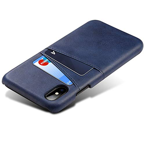 - Ultra-Slim Compatible iPhone X PU Leather Wallet Case with Credit Card Holder Blue Case (Blue)