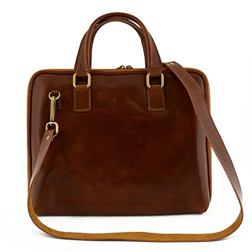 Genuine Leather Briefcase With Zip Closure And Side Bellows Color Cognac