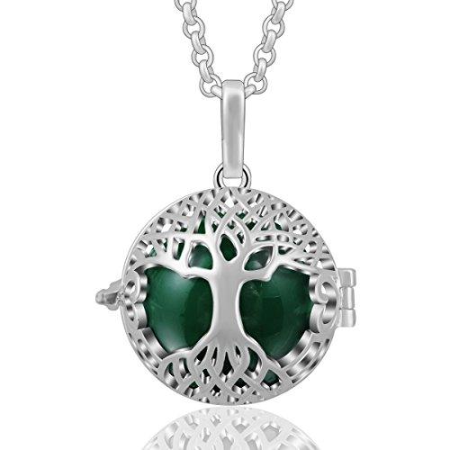 AEONSLOVE Silver Celtic Tree of Life Melody Harmony Ball Chime Bell Pendant Necklaces for Women Gifts -
