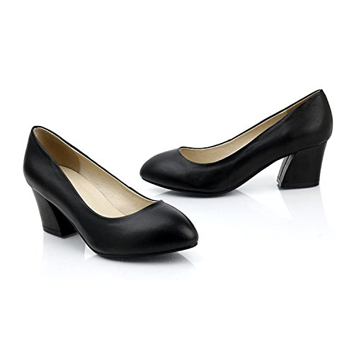 Womens Ladies Black Mid Heel Shoes Pumps Court Shoes For Party Work Evening Party Prom Wedding Black qzzKT9UKUV