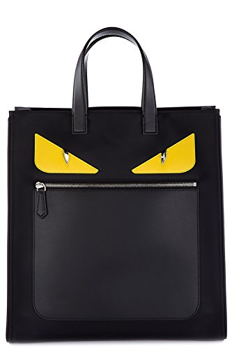 Fendi men's bag handbag Nylon tote eyes monster black