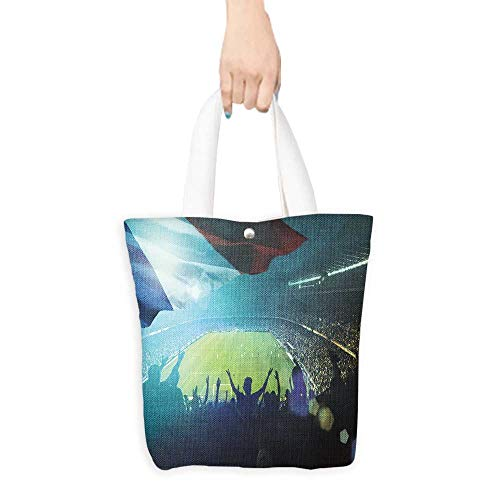 (Casual Shopping Tote Bag crowded football stadium with french flag Reusable 100% Eco Friendly W16.5 x H14 x D7 INCH)
