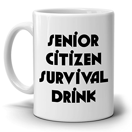 Senior Citizen Survival Drink Retired Gift Mug, Perfect Retirement Gifts for Men and Women Party Supplies for Parties, Printed on Both Sides! Christmas Party Invitation Wording Religious