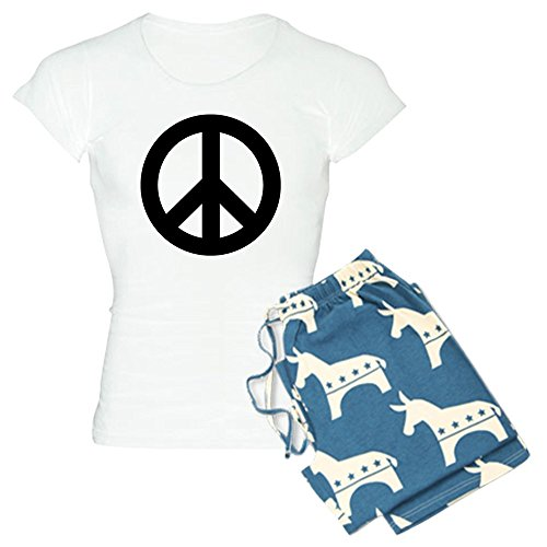CafePress Black Peace Sign Womens Novelty Cotton Pajama Set, Comfortable PJ Sleepwear