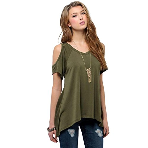 Bolayu 2016 Summer Sexy Women Casual Off Shoulder V-Neck T-Shirt Short Sleeve Tops (L, Army Green)