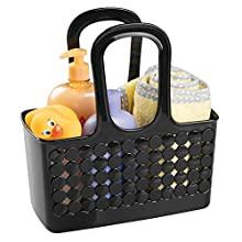 """iDesign Orbz Plastic Bathroom Shower Tote, Small College Dorm Caddy for Shampoo, Conditioner, Soap, Cosmetics, Beauty Products, 11.25"""" x 5.25"""" x 12"""" - Black"""