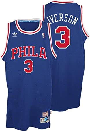 best sneakers 81139 d6dd5 Allen Iverson Philadelphia 76ers Adidas Throwback Blue ...